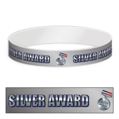 Silver Award Adhesive Paper Wristbands (30 Wristbands - 220mm x 15mm)