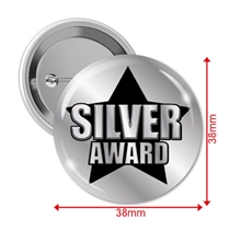 Silver Award Badges (10 Badges - 38mm)