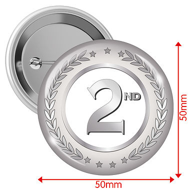 Silver Second Badges (10 Badges - 50mm)