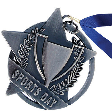 Silver Sports Day Medal with Blue Ribbon