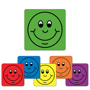 Smile Reward Stickers (16mm - Available in 6 colours)