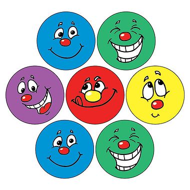 Smiley Face Stickers (35 Stickers - 20mm)