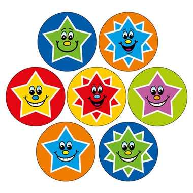 Smiley Star Stickers (35 Stickers - 20mm)