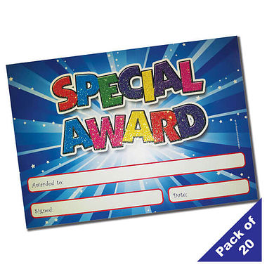 Sparkly Glitter Special Award Certificates (20 Certificates - A5)