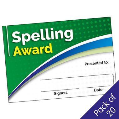 Spelling Award Certificates (20 Certificates - A5)