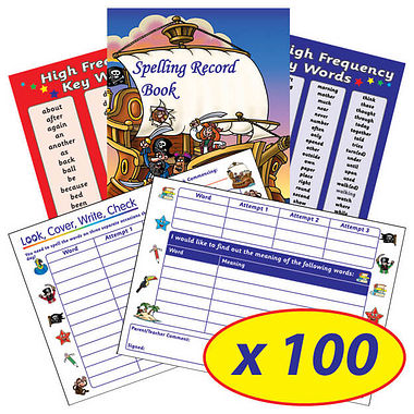 Spelling Record Book - Pirate Themed (100 Books - A5)
