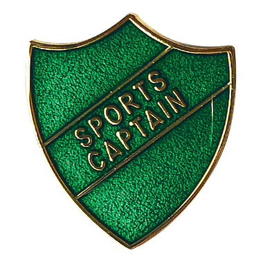 Sports Captain Enamel Badge - Green (30mm x 26.4mm)