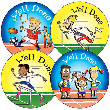 SPORTS DAY Stickers - Well Done (35 Stickers -37mm)