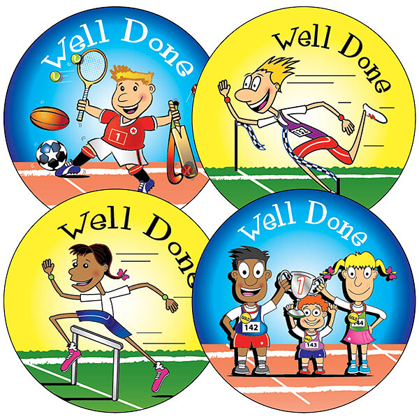 Sporting Themed Reward Stickers Sports Day Teachers Prize Praise Children School