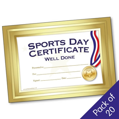Sports Day Well Done Certificates (20 Certificates - A5)