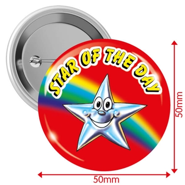 'Star of the Day'  Badges - Red (10 Badges - 50mm)