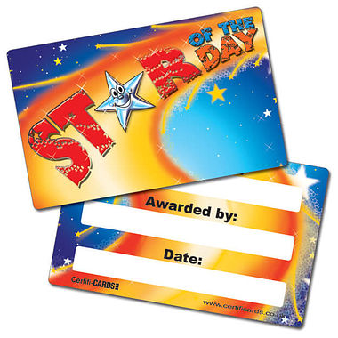Star of the Day Plastic CertifiCARDS (10 Wallet Sized Cards)