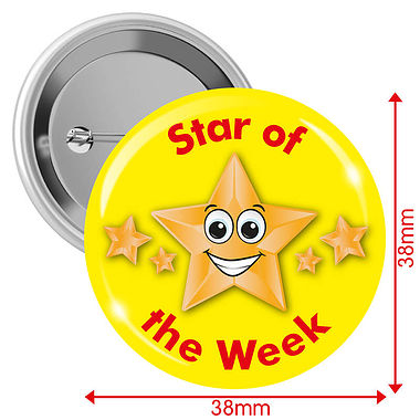 Star of the Week Badges - Yellow (10 Badges - 38mm)