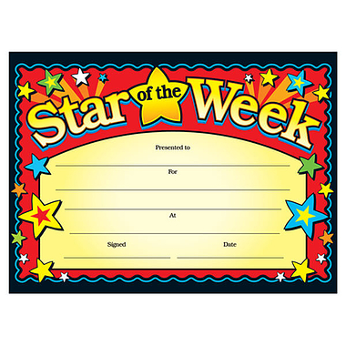 Star of the Week Certificates (20 Certificates - A5) Brainwaves