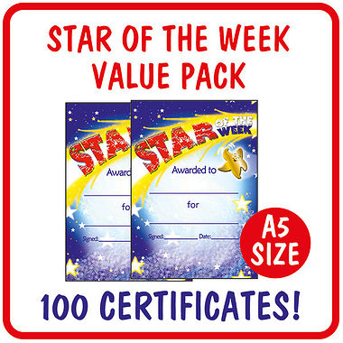 Star of the Week Certificates Value Pack (100 Certificates - A5)