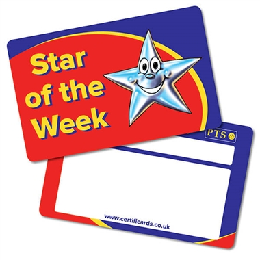 Star of the Week Plastic CertifiCARDS (10 Wallet Sized Cards)
