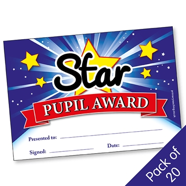 Star Pupil Award Certificates - Blue (20 Certificates - A5)
