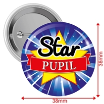 Star Pupil Button Badges (10 Badges - 38mm)