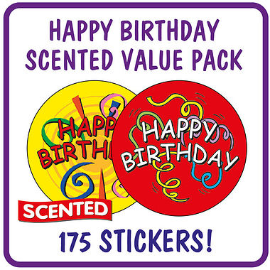 Strawberry Scented Birthday Stickers Value Pack (175 Stickers - 37mm)
