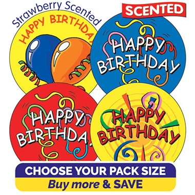 Strawberry Scented Stickers - Happy Birthday (37mm)