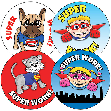 Superhero Stickers (35 Stickers - 37mm)