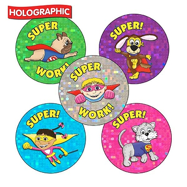 Superhero Stickers - Holographic 30 Stickers - 25mm)