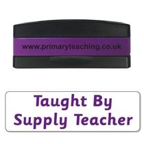 Taught by Supply Teacher Stakz Stamper - Purple Ink (44mm x 13mm)