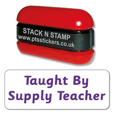 Taught by your Supply Teacher Stack & Stamp - Purple Ink (38mm x 15mm)