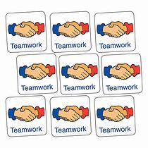 Teamwork Handshake Stickers (140 Stickers - 16mm Square)