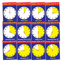 Tell the Time Analogue Clock Card Posters (12 Posters - A4)
