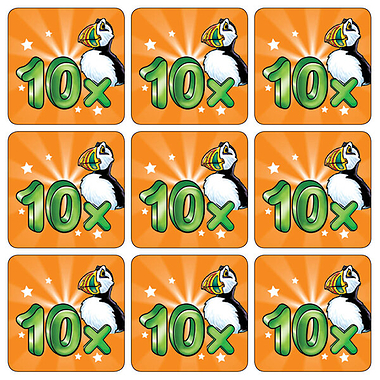 Ten Times Table Puffin Stickers (35 Stickers - 20mm)