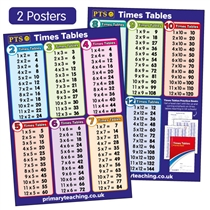 Times Tables Chart (2 Posters - A2 - 620mm x 420mm)