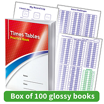 Times Tables Practice Book - GLOSS COVERS (100 Books - A5)