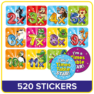 Times Tables Stickers Value Pack (520 Stickers)