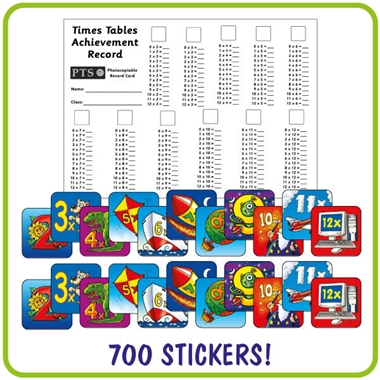 Times Tables Stickers Value Pack (700 Stickers - 16mm)