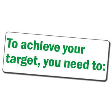 To Achieve Your Target, You Need To' Stamper - Green Ink (45mm x 18mm)