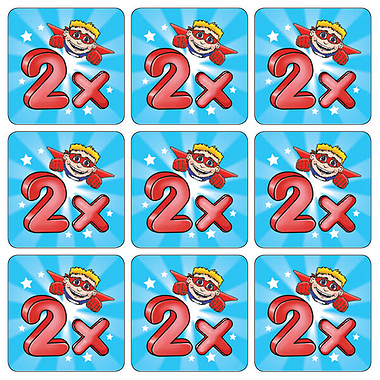 Two Times Table Superhero Stickers (35 Stickers - 20mm)