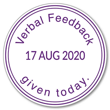 Verbal Feedback Given Today Adjustable Date Stamper - Purple Ink (38mm)