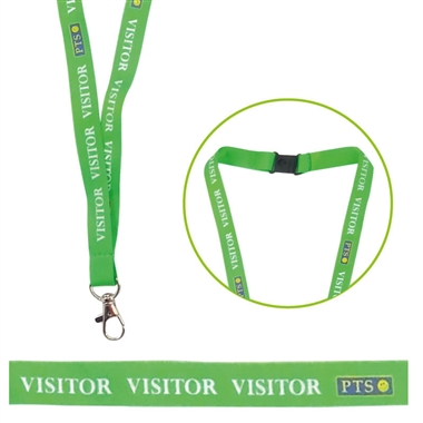 Visitor Lanyard - Green with White Text