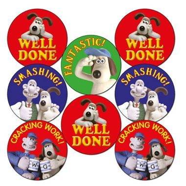 Wallace and Gromit Mixed 25mm Stickers x 70