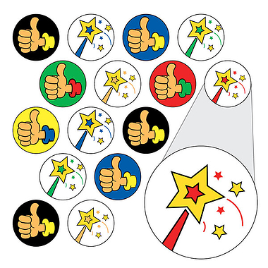Wands and Thumbs Up Stickers (196 Stickers - 10mm)
