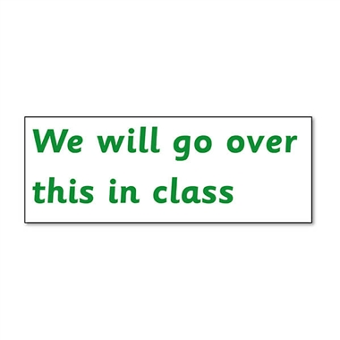 We Will Go Over This In Class Stamper - Green Ink (38mm x 15mm)