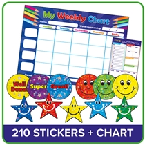 Weekly Chart Pad Plus Stickers (1 x A4 Pad Plus 210 x 20mm Stickers)