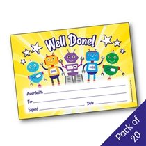 Well Done Certificates - Robots (20 Certificates - A5)