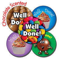 Well Done Chocolate Scented Stickers - Mixed (35 Stickers - 37mm)