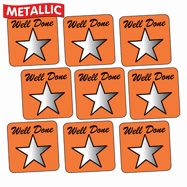 Well Done Metallic Square Stickers - Orange (140 per sheet - 16mm)