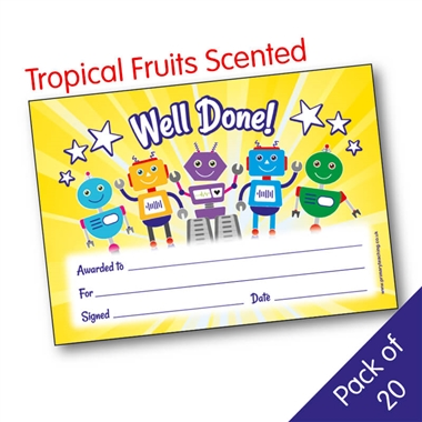 Well Done! Robot Tropical Fruit Scented Certificates (20 Certificates - A5)