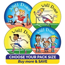 Well Done Sports Day Stickers (37mm)