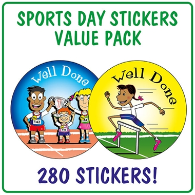Well Done Sports Day Stickers Value Pack (280 Stickers - 37mm)