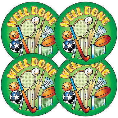 Well Done Sports Stickers (35 Stickers - 37mm)